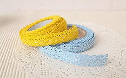 5 Pack DIY Self Adhesive Lace Washi Tape Trim Ribbon Cotton Fabric Tape Decor Craft Mixed Color