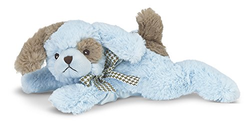 Bearington Baby Lil' Waggles Plush Stuffed Animal Blue Puppy with Rattle, 8 inches