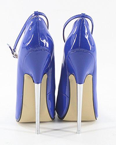 Shoes WONDERHEEL Blue Heel Heel Fetish High Patent Strap Metal Ankle Stilleto P4PqnvfH