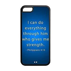 5/5s Phone Cases, Bible Verse Philippians 4:13 Hard TPU Rubber Cover Case for iPhone 5/5s