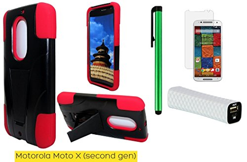 Motorola Moto X (2nd generation) 2014 Edition 2 in 1 Stand Phone Case - Premium Heavy Duty Dual Shield Hybrid Protector Case with KickStand + Screen Protector Film + I of 1600mAh (5V) Portable Lightweight External USB Emergency Mobile Power Bank + 1 of New Metal Stylus Touch Screen Pen (Red)