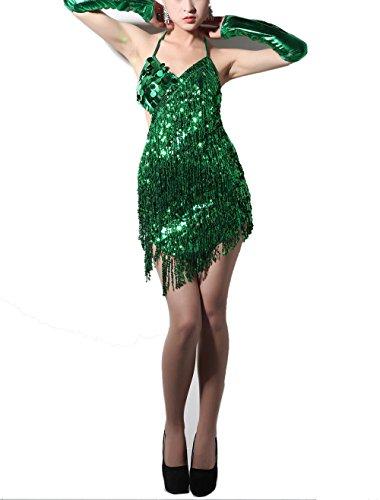 Latino Costume (Whitewed Fringe Latin Latino Style Fancy Dance Dress Outfits Costumes Green)