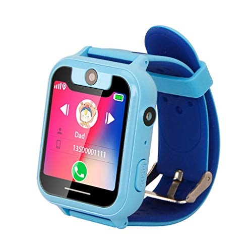 Choosebuy❤️ Kid Smart Watch, Touch Screen 2G Smart Wristwatch Phone/GPS Real-time Two-way Conversation/Anti-lost Single Camera Smartwatch Bracelet for Android for Kids (Blue) ()