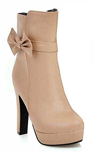 CHFSO Womens Trendy Solid Round Toe Bowknot Zipper High Chunky Heel Platform Winter Boots Apricot nybijffN