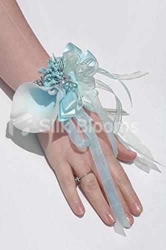 Superior Modern Light Blue Centred White Picasso Lily Wrist Corsage Idea