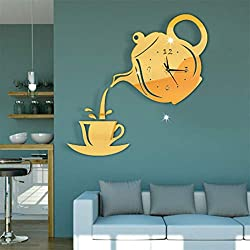 Samoii DIY Wall Stickers Modern 3D Kettle Teacup Mirror Wall Clock Wall Decorative Clocks Home Office Decoration