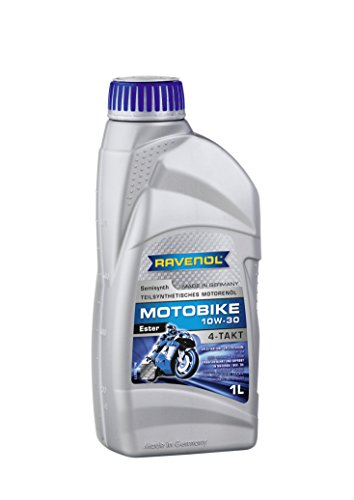 RAVENOL J1V1035-001 SAE 10W-30 4-Stroke Motorcycle Oil - 4-T Semi Synthetic API SM and JASO MA2 (1 Liter)