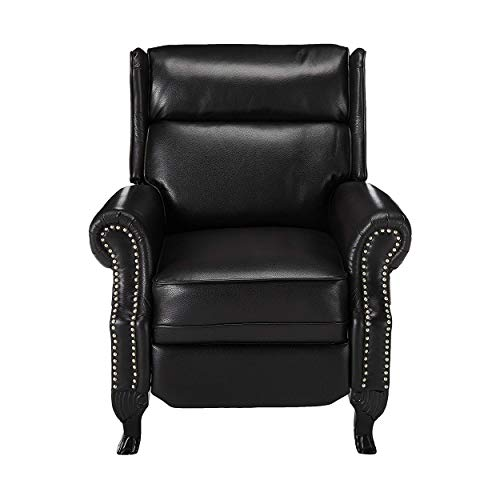 Christopher Knight Home Curtis Leather Recliner Club Chair Nail Head Accents, Black