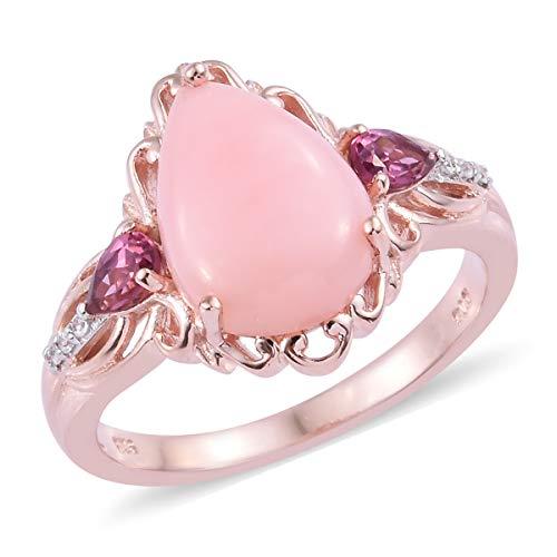 - Pink Opal Rhodolite Garnet Promise Ring 925 Sterling Silver Vermeil Rose Gold Jewelry for Women Size 6