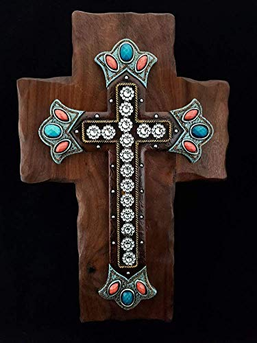 Walnut Wall Cross with Orange, Turquoise and Diamond Centerpiece
