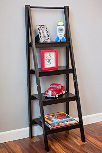 Black 4 Tier A frame Ladder Bookshelf