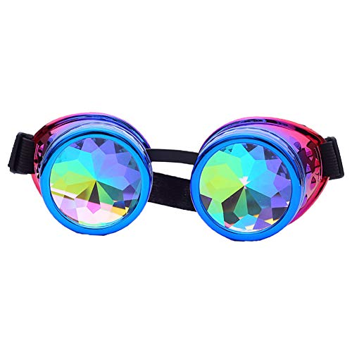 Radioactive Goggles Steampunk Bling Bling Rainbow Crystal Lenses Halloween Party ()