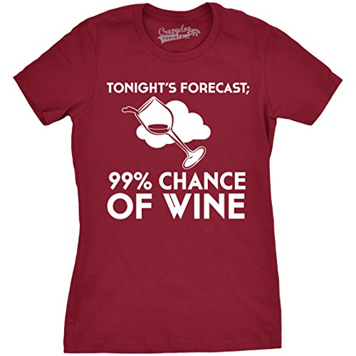 Crazy Dog T-Shirts Women's High Chance of Wine Forecast T Shirt Funny Drinking Tee for Women (Red) (Chance Fitted T-shirt)