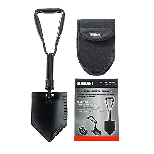 Scoop Mount (Folding Shovel, Entrenching Tool, for Camping, Gardening or the Job Site, with Steel Blade, Serrated Edge, Black Powder Coat Finish and Nylon Carrying Case - By SERGEANT)