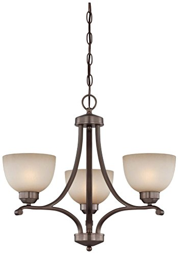 Minka Lavery 1423-281 3 Light Mini Chandelier in Harvard Court Bronze Finish w/ Light French Scavo (French Scavo Glass)