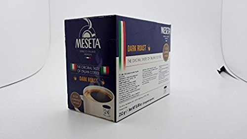 Meseta Dark Roast made in Italy. 24 K-Cup compatible with 2.0 Keurig Brewers.. Gourmet Coffee made from the finest Arabica