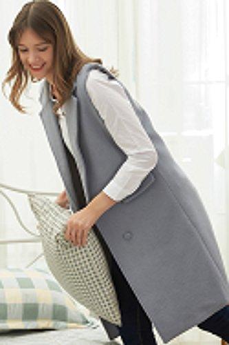 Jacket Lapel Trench Grey Sleeveless Coat Warm Long Hanayome Breasted Double Women's HqxSHwYE