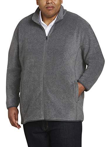 Full Zip Fleece Tall (Amazon Essentials Men's Big and Tall Full-Zip Polar Fleece Jacket fit by DXL, Charcoal Heather, 3XLT)