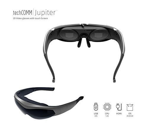 TechComm Jupiter 4GB Android 2D Video Glasses Bluetooth Wi-Fi Touch - Glasses Virtual Video