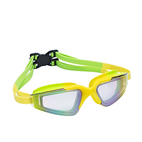 (ROTERDON Kids Swim Goggles - UV Protection Anti-Fog Waterproof Swimming Goggles for Children Teens Yellow Green)