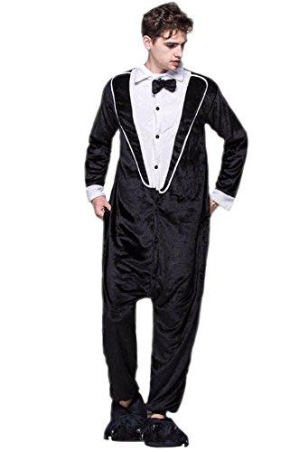 Miao Duo Adult Cool Black Warm Costume Pajamas One-Piece Tuxedo Cosplay -