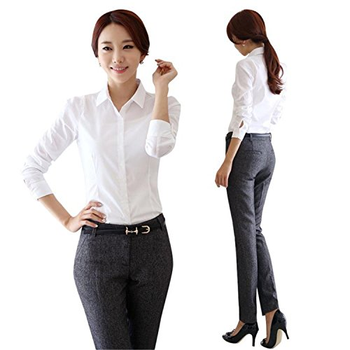 51b64bb1607 New Fashion White Shirt Women Work Wear Long Sleeve Female Office Blouse  Tops Slim Women Formal