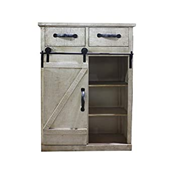 Paris Loft Rustic White Disstressed Wood Storage Cabinet Sliding Barn Door, Vintage Farmhouse Wood Storage Console Cabinet Kitchen32 H