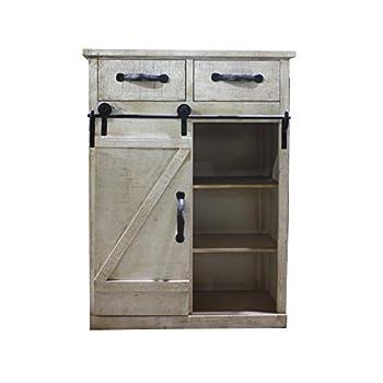 Paris Loft Rustic White Disstressed Wood Storage Cabinet Sliding Barn Door, Vintage Farmhouse Wood Storage Console Cabinet Kitchen32 H
