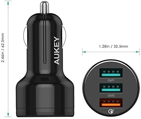 Samsung Galaxy Note10+ and More iPad Pro 42W Quick Charge 3.0 Car Charger for iPhone 11//11 Pro//Xs//Max//XR AUKEY USB Car Charger