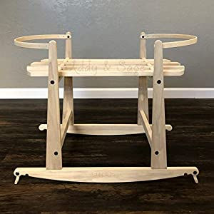 2 in 1 Natural Rocking Stand for Nuna Demi Grow Bassinets – with Brakes