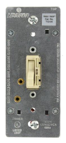 Leviton TGI06-1LI, ToggleTouch Preset Digital 600W Incandescent Dimmer, Single Pole and 3-Way, Ivory