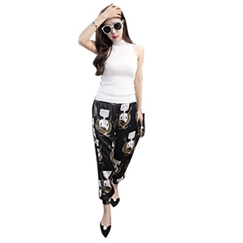 Yaheeda Women's Casual Print Flower Elastic Waistband Wide Leg Narrow Feet Long Chiffon Pants Trousers