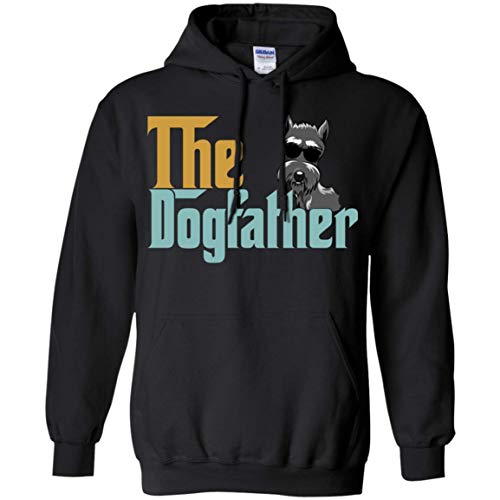 (AOYUA The Dogfather Schnauzer Dog Vintage Hoodies for Father Tshirt Black)
