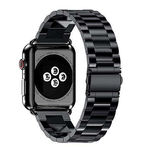 (SHL Classical Stainless Steel Watch Band Replacement Strap for Apple Watch Series 4 44mm (Black))