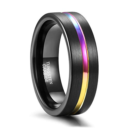 7mm Rainbow Tungsten Wedding Ring Band for Men Women Black Brushed Matte Finish Centre Groove Comfort Fit Size 12 ()
