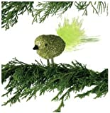 Gold & Green Glitter Glass Bird Clip-On with Green Feather Christmas Ornament