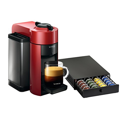 Nespresso VertuoLine Evoluo Cherry Red Coffee and Espresso Maker with Bonus 40 Capsule Storage Drawer