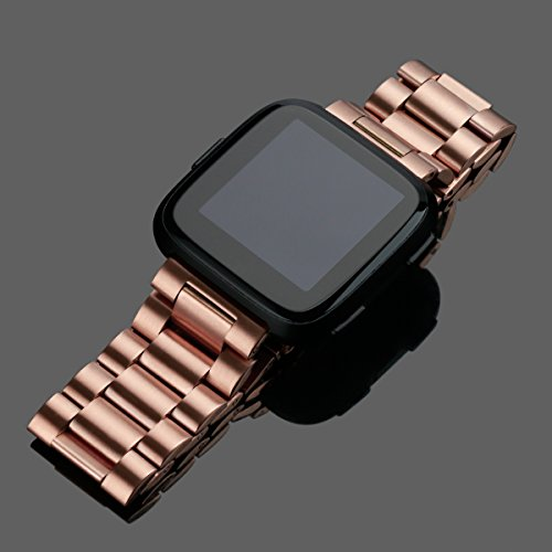 for Fitbit Versa Bands Rose Gold Stainless Steel Metal Bracelet Replacement Wristband Accessories Strap by autulet (Image #3)