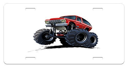 zaeshe3536658 Truck License Plate, Extreme Off Road Vehicle Cartoon Style Monster Truck Motorsports Illustration, High Gloss Aluminum Novelty Plate, 6 X 12 Inches, Night Blue Red by zaeshe3536658