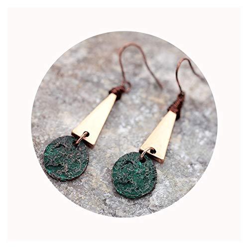 Defiro Boho Drop Coin Earring Round Dangle Hoops Handmade Retro Geometry Earring Copper Wire Women - Dress Earrings Round