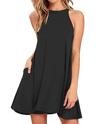 Sarin Mathews Women's Halter Neck Sleeveless Casual Swing T-Shirt Loose Dress Black S