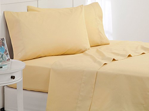 Southern Tide Skipjack Tonal Embroidered Twill Sheet Set, Twin, Moonlight Yellow