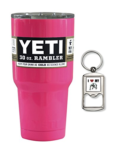 YETI Coolers Custom Powder Coated Stainless Steel 30 Ounce (30oz) (30 oz) Rambler Tumbler Insulated Travel Cup Mug with Lid and Free Bottle Opener Keychain (Hot Pink)