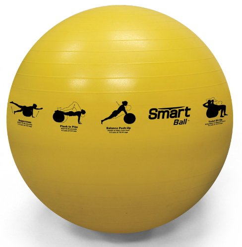 Prism Fitness 55cm, Yellow Smart Self-Guided Stability Ball - Exercise Ball for Exercise, Yoga, Pilates, Office Ball Chair and More, 13 Exercises Printed on Ball for Easy Reference