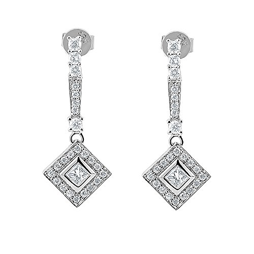 (Princess Cut and Round Diamond Dangling Earrings 14K White Gold 1.10 Carats Sparkling Diamonds)
