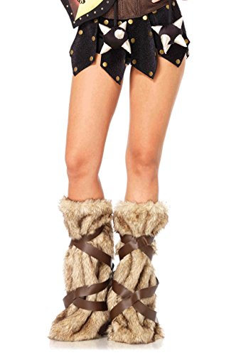 [leg avenue women's warrior faux fur leg warmers with faux leather wrap detail costume accessory, tan, one] (Warm Bodies Costume)