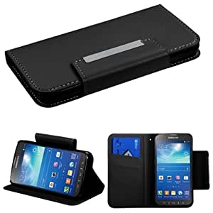 MyBat Book- Wallet with Card Slot Case for Samsung Galaxy S4 Active i537 - Retail Packaging - Black