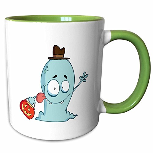 3dRose Dooni Designs More Random Cartoon Designs - Cute Halloween Ghost Trick Or Treating - 15oz Two-Tone Green Mug -