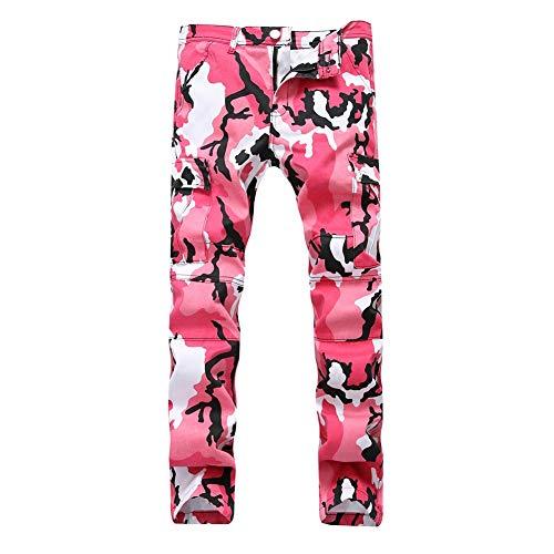 Elasticidad Pie Camuflaje Ocio Slim Haz de Fit Jeans Heterosexual Herramientas Pantalones Versaces Pink Hombres qAzYqF