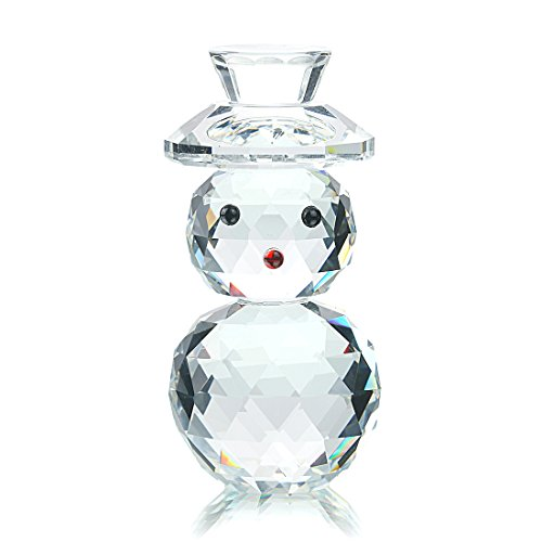 Snowman Ornament Collection - H&D Crystal Snowman with Hat Holiday Figurine Collection Ornament
